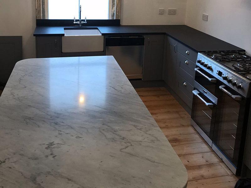 Carrara Marble, Slate Worktops