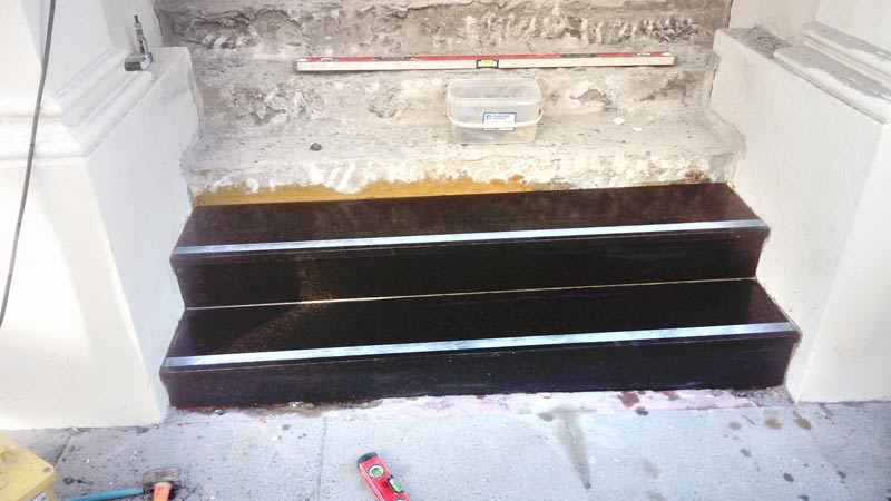 Granite Steps with Anti-Slip Strips