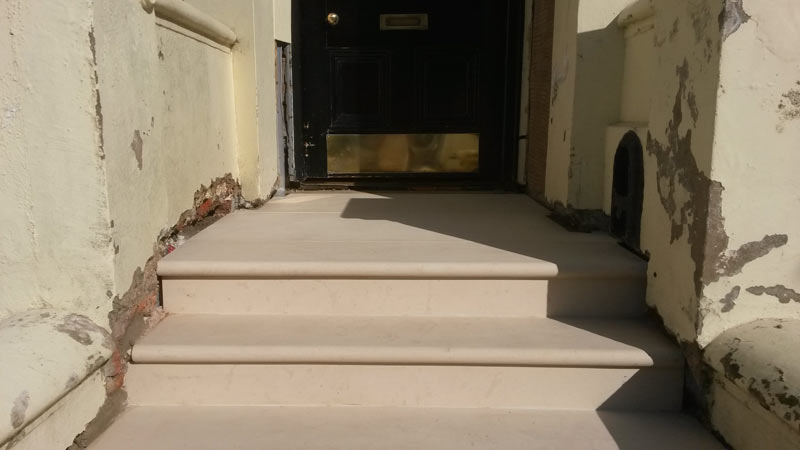 New stone steps and landing