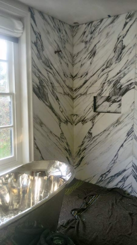 Arabescato marble shower
