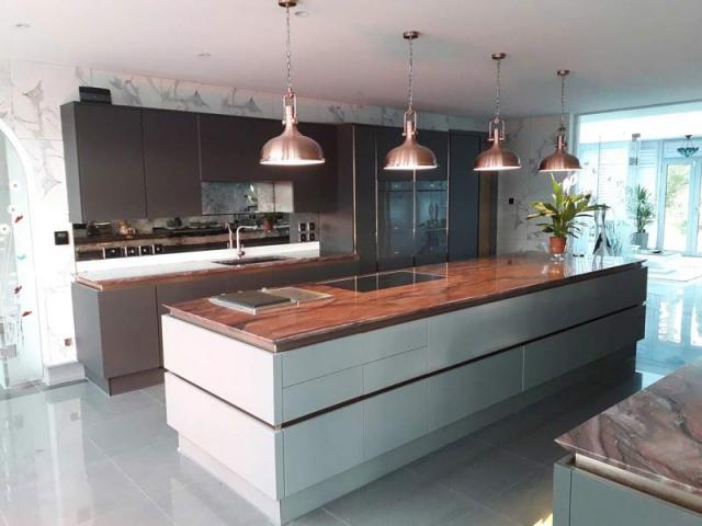 Granite sharknose edge kitchen island