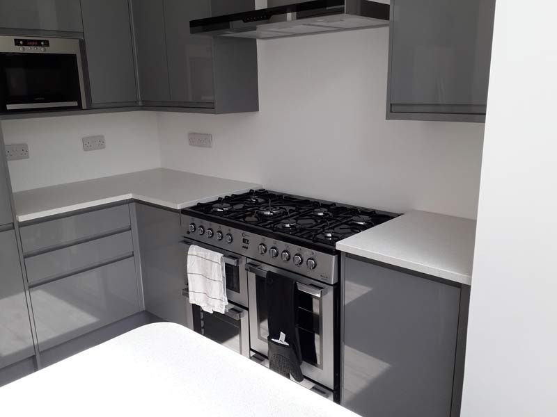 White Mirror Quartz Kitchen + Island